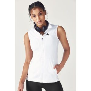 Fabletics White Lightweight Collared Zip-Up Vest With Pockets, Size XS